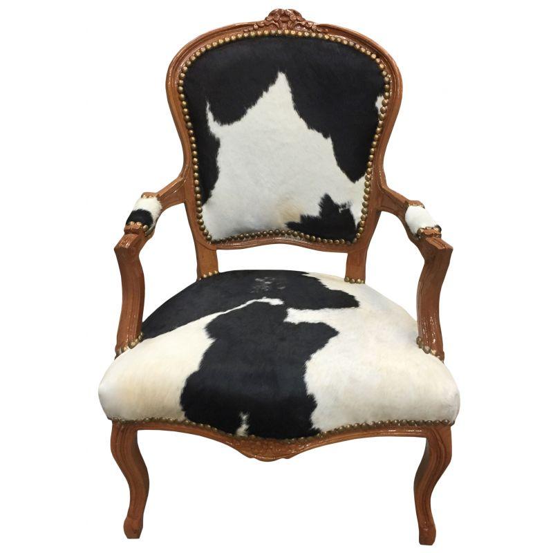 fauteuil baroque de style louis xv peau de vache noire et bois naturel. Black Bedroom Furniture Sets. Home Design Ideas