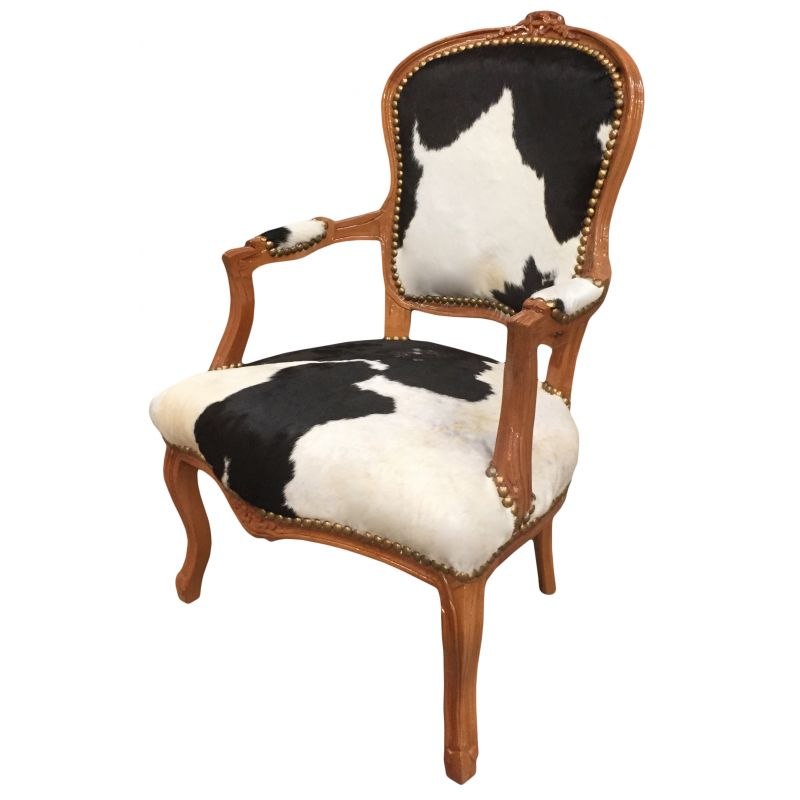armchair louis xv with real black and white cowhide and raw wood. Black Bedroom Furniture Sets. Home Design Ideas