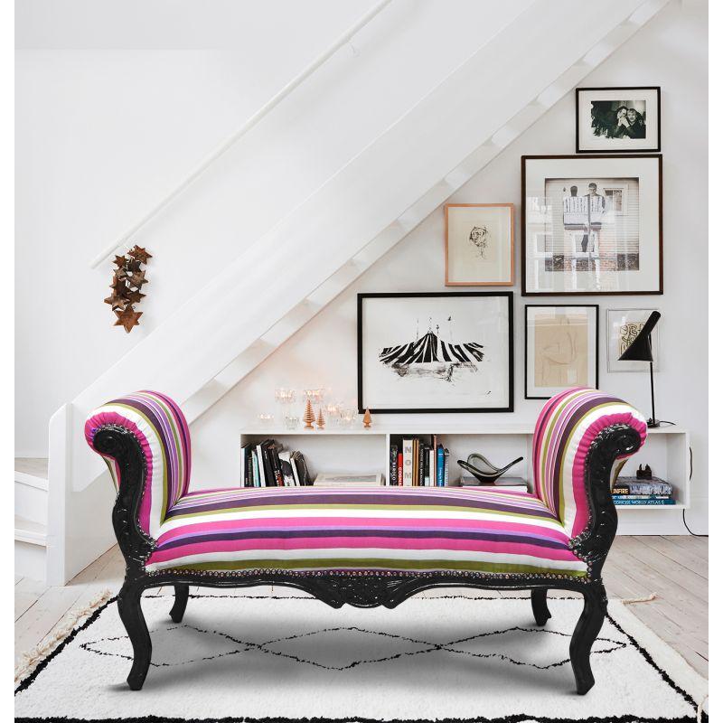 longue banquette baroque de style louis xv ray multicolore bois noir. Black Bedroom Furniture Sets. Home Design Ideas
