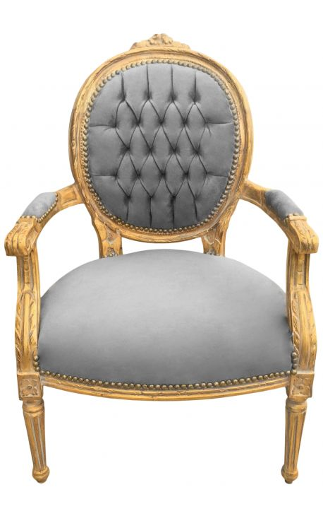 Baroque armchair Louis XVI style gray velvet and gold wood with patina