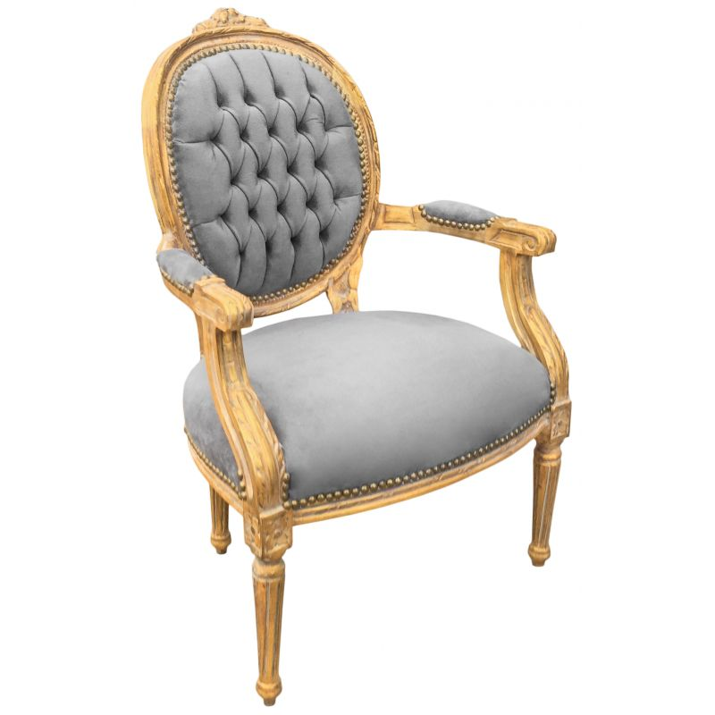 fauteuil baroque de style louis xvi velours gris et bois dor patin. Black Bedroom Furniture Sets. Home Design Ideas