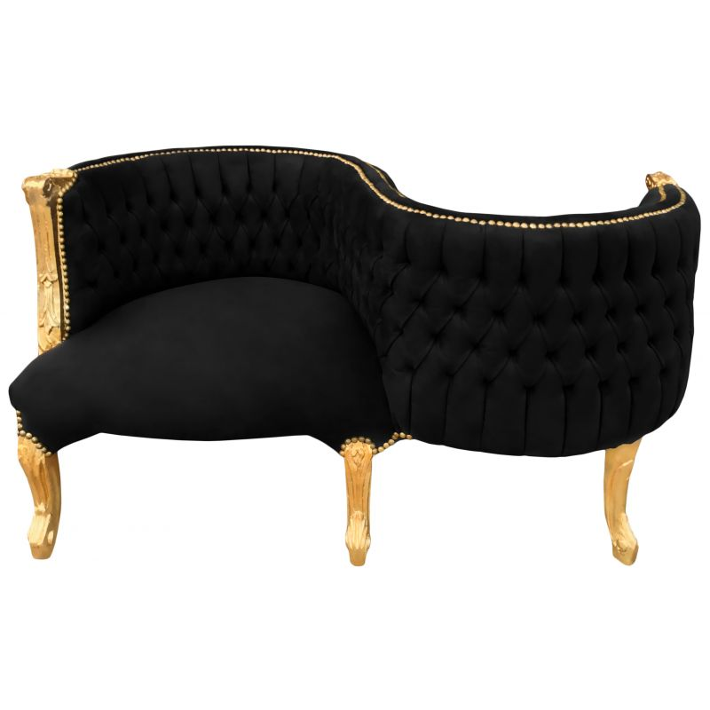 fauteuil confident baroque tissu velours noir et bois dor. Black Bedroom Furniture Sets. Home Design Ideas