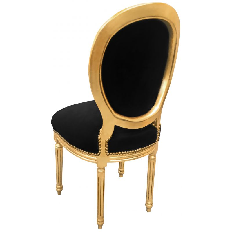 chaise baroque de style louis xvi velours noir et bois dor. Black Bedroom Furniture Sets. Home Design Ideas