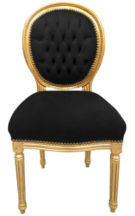 Louis XVI style chair black velvet and gold wood