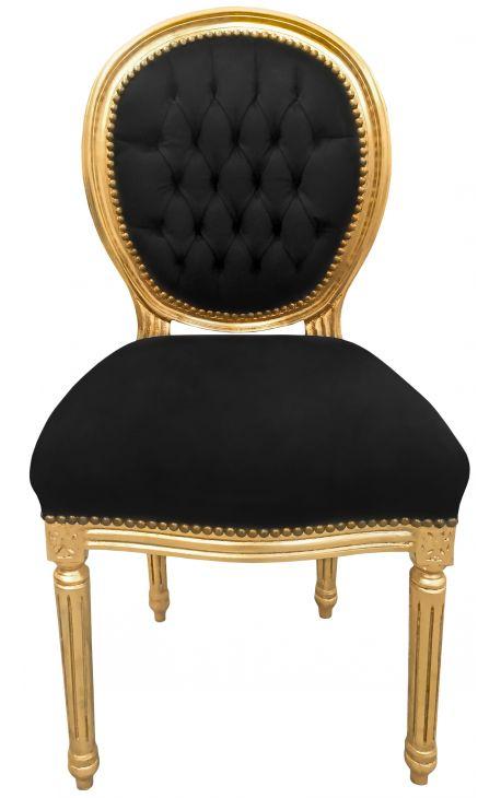 Chaise De Style Louis XVI Velours Noir Et Bois Dore