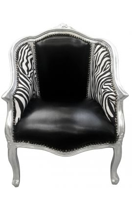 Baroque bergere armchair Louis XV black leatherette & zebra fabric silver wood