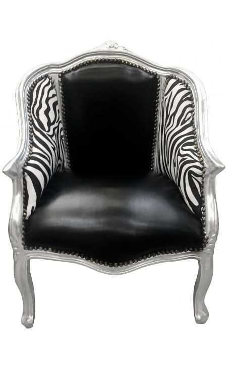 Bergère de style Louis XV simili cuir noir et zèbre avec bois argent