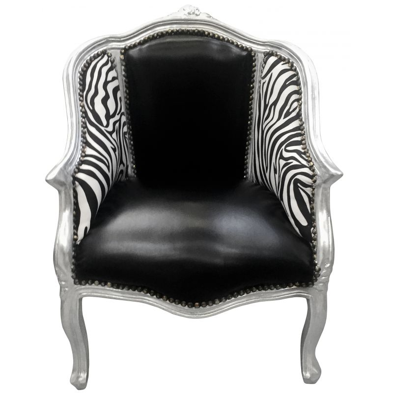 berg re de style louis xv simili cuir noir et z bre avec bois argent. Black Bedroom Furniture Sets. Home Design Ideas