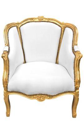 Grande bergère de style Louis XV tissu simili cuir blanc et bois doré