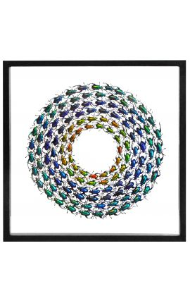Decorative frame with round copper green beetles