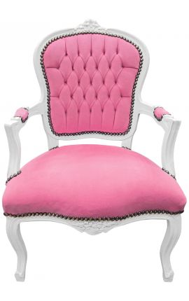Baroque armchair of Louis XV style pink velvet fabric and white wood