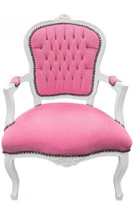 Fauteuil Louis XV de style baroque velours rose et bois blanc