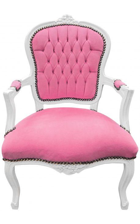 Fauteuil baroque de style Louis XV velours rose et bois blanc