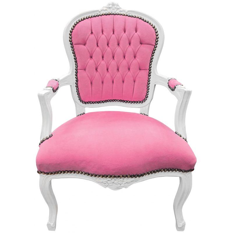 fauteuil baroque de style louis xv velours rose et bois blanc. Black Bedroom Furniture Sets. Home Design Ideas