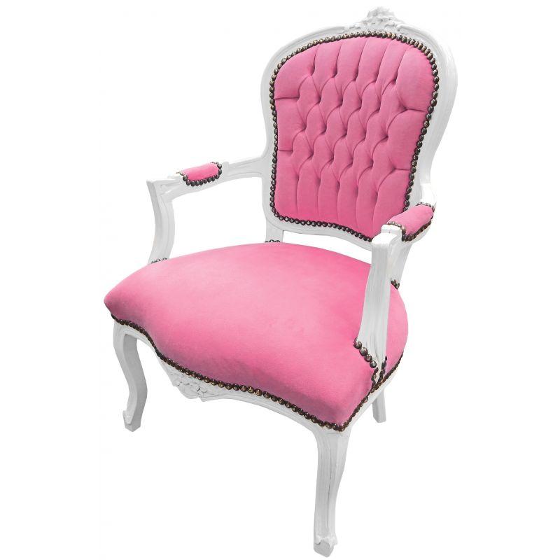 Fauteuil baroque de style louis xv velours rose et bois blanc for Fauteuil bois blanc