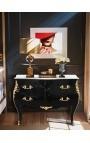 Барокко комод в стиле Louis XV стиль черный белый мраморный верх