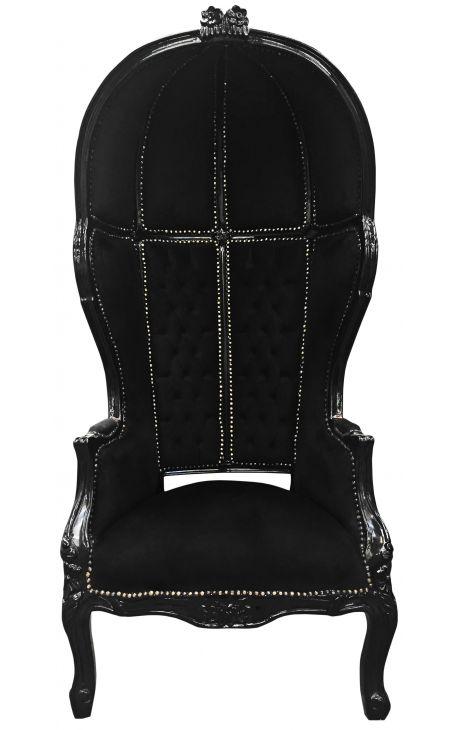 Grand porter's Baroque style chair black velvet and black wood