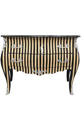 Baroque chest of drawers Louis XV style black striped veneer elm