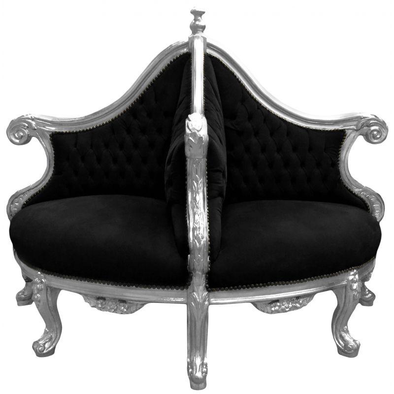 fauteuil borne baroque tissu velours noir et bois argent. Black Bedroom Furniture Sets. Home Design Ideas