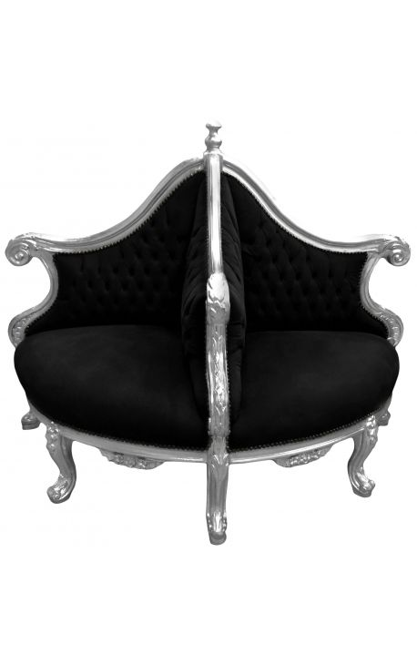Fauteuil borne baroque tissu velours noir et bois argent