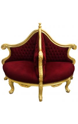 Armchair Borne Baroque burgundy velvet fabric and gilded wood