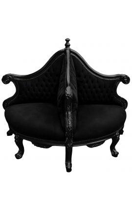 Барокко Борне кресло черная бархатная ткань и глянцевая черная древесина