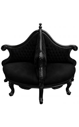 Baroque Borne armchair black velvet fabric and glossy black wood