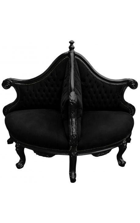 Fauteuil borne baroque tissu velours noir et bois laqué noir