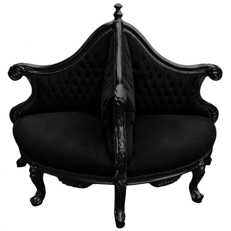fauteuil borne baroque tissu velours noir et bois laqu noir. Black Bedroom Furniture Sets. Home Design Ideas