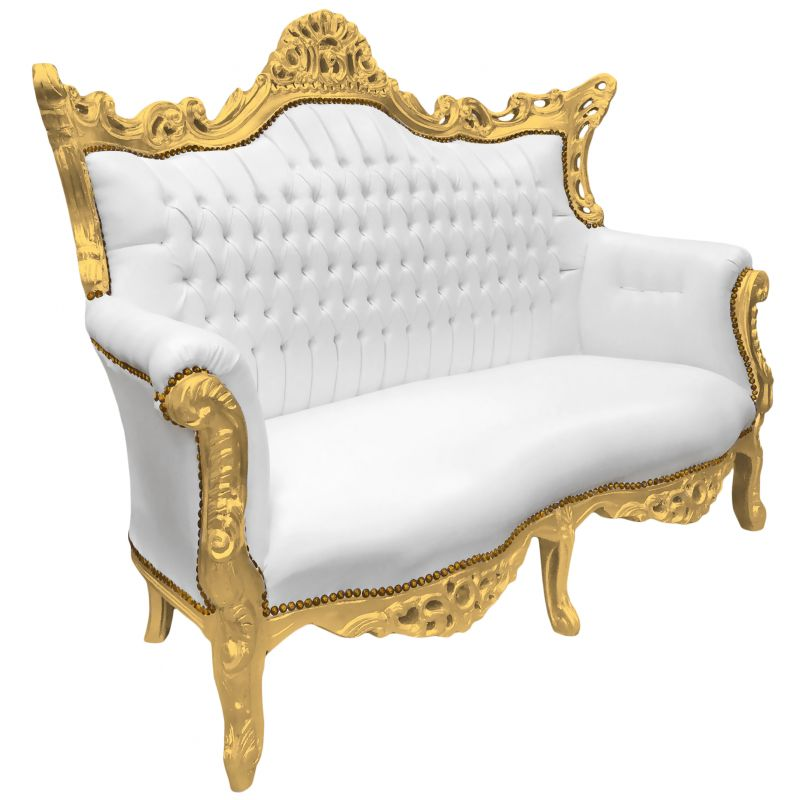 Baroque rococo 2 seater sofa white leatherette and gold wood
