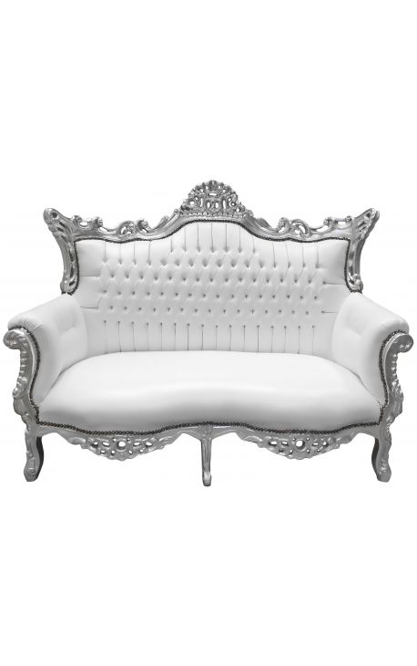 Baroque rococo 2 seater sofa white leatherette and silver wood