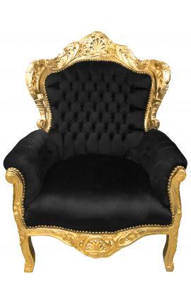 Grand fauteuil de style Baroque tissu velours noir et bois doré