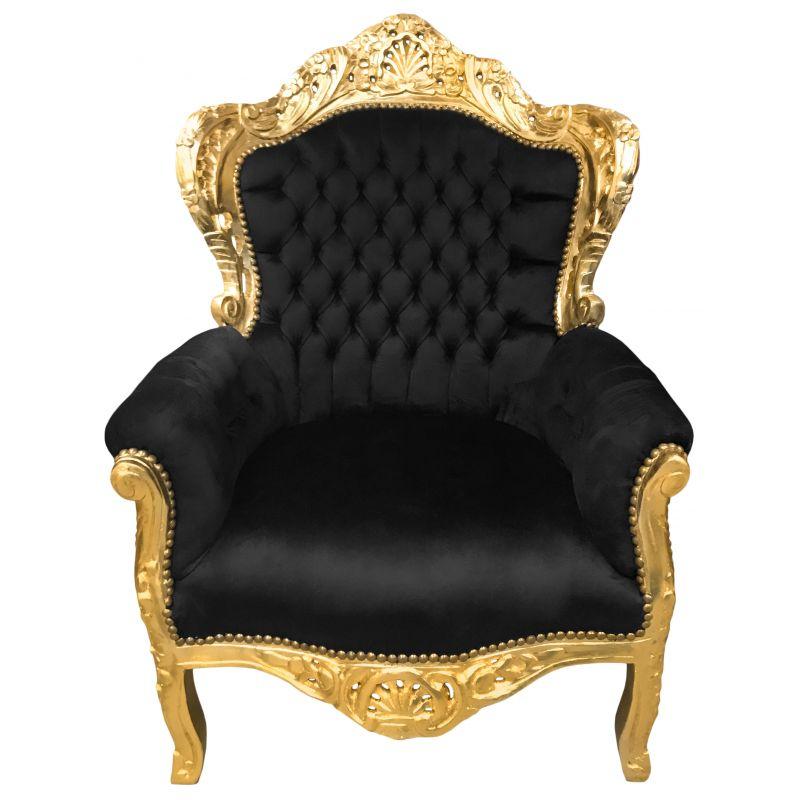 grand fauteuil style baroque velours noir et bois dor. Black Bedroom Furniture Sets. Home Design Ideas