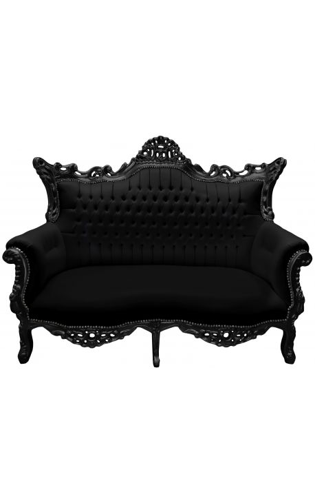 canap baroque rococo 2 places simili cuir noir et bois noir. Black Bedroom Furniture Sets. Home Design Ideas