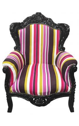 Большие разноцветные полосатый стиль барокко кресло и черного дерева