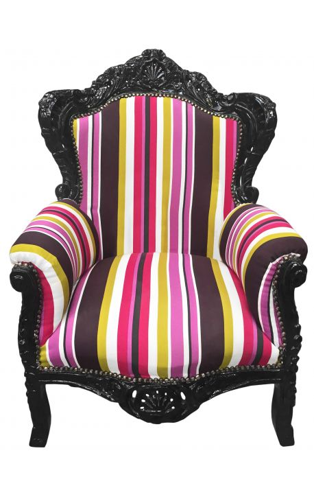 Big baroque style armchair multicolor striped and black wood