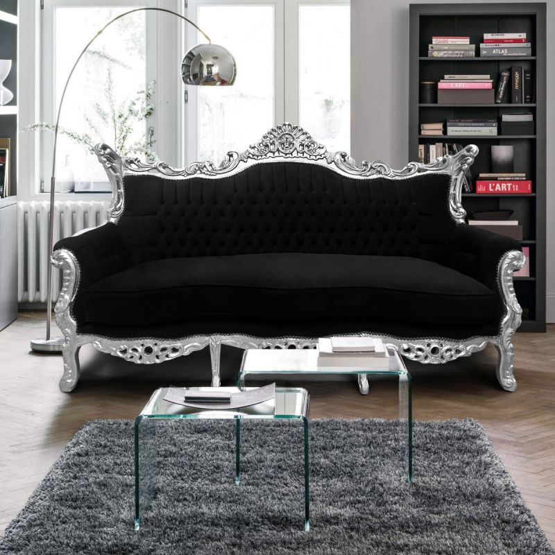 canap baroque rococo 3 places velours noir et bois argent. Black Bedroom Furniture Sets. Home Design Ideas