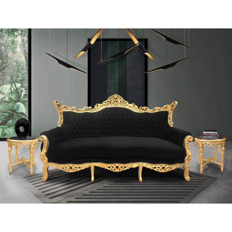 canap baroque rococo 3 places velours noir et bois dor. Black Bedroom Furniture Sets. Home Design Ideas