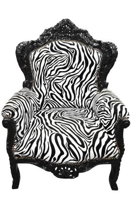 Big baroque style armchair fabric zebra and black laquered wood