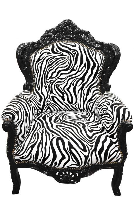 Гранд стиль кресло ткани барокко зебра и черный лакированный Вуд