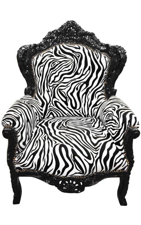 Grand fauteuil de style baroque tissu zèbre et bois laqué noir