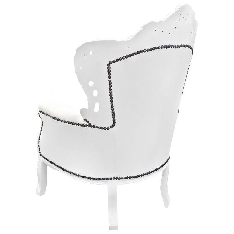 Grand fauteuil de style baroque simili cuir blanc et bois - Fauteuil de table simili cuir ...