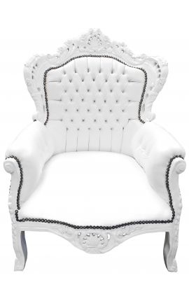 Big baroque style armchair white faux leather and white lacquered wood