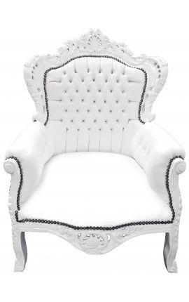 Большое кресло стиль барокко белый кожаный и белое дерево