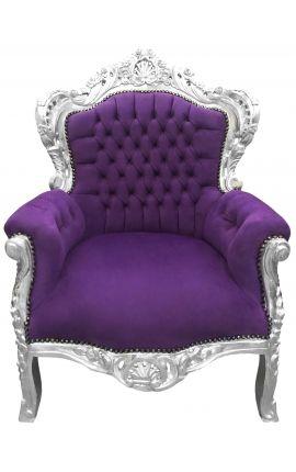 Grand fauteuil de style Baroque velours mauve et bois argent