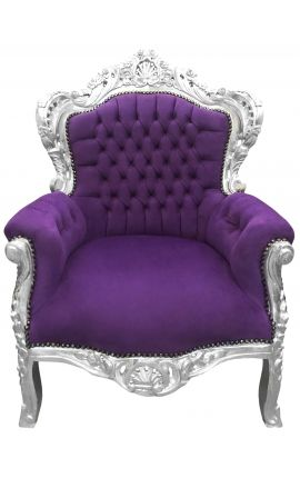 Big baroque style armchair purple velvet and silver wood