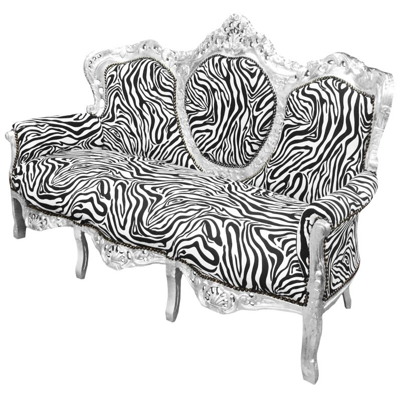 canap baroque tissu z bre et bois argent. Black Bedroom Furniture Sets. Home Design Ideas