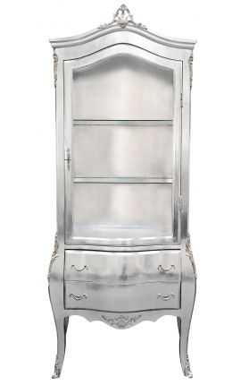 Baroque display cabinet silver leaf with silver bronze