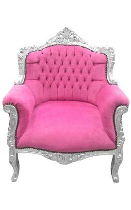 """Fauteuil """"princier"""" de style Baroque velours rose et bois argent"""