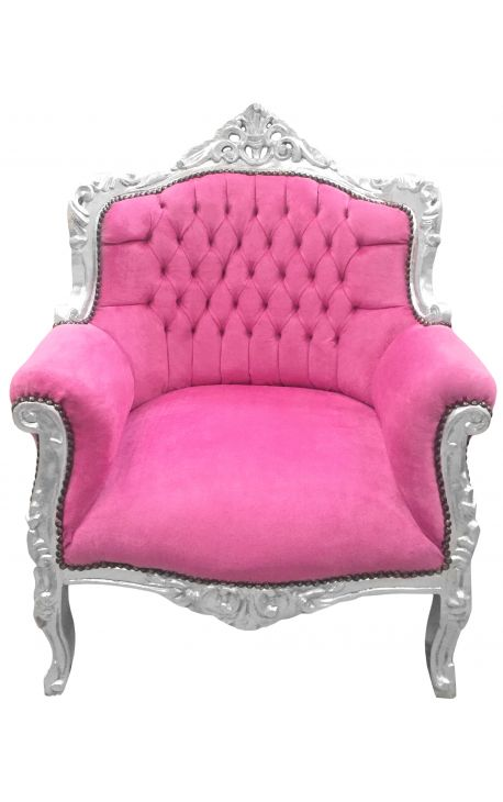 "Armchair ""princely"" Baroque style pink velvet and silver wood"